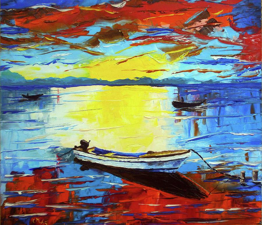 Seascape Painting - Sunset 4 by Maria Woithofer