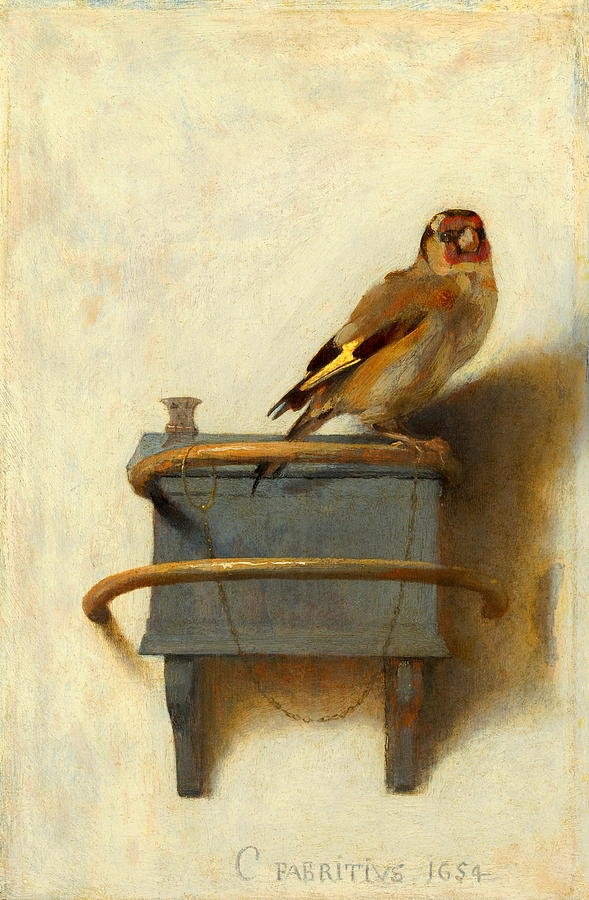 Owl Painting - The Goldfinch by Carel Fabritius