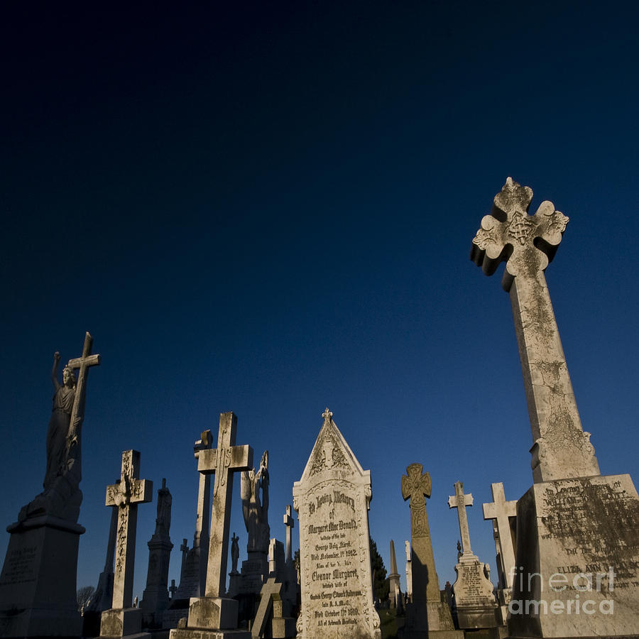 Cross Photograph - The Graveyard by Angel Ciesniarska