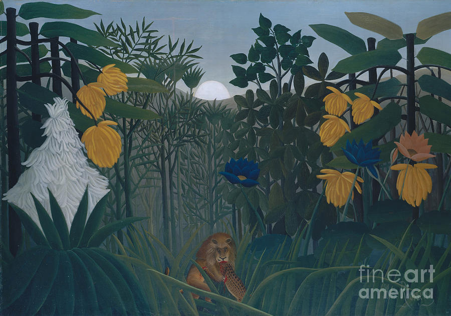 The Painting - The Repast Of The Lion by Henri Rousseau