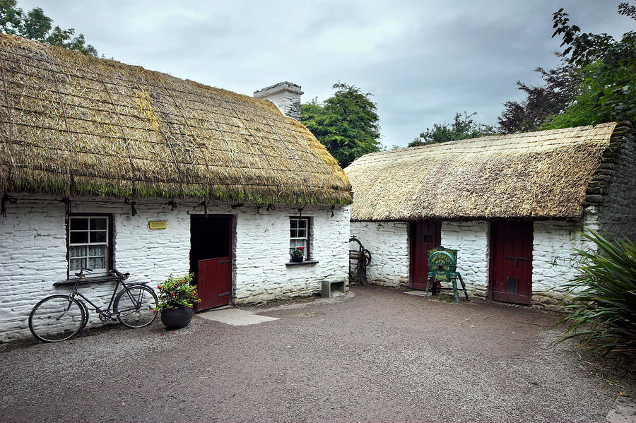 Traditional Thatch Roof Cottage Ireland Photograph By