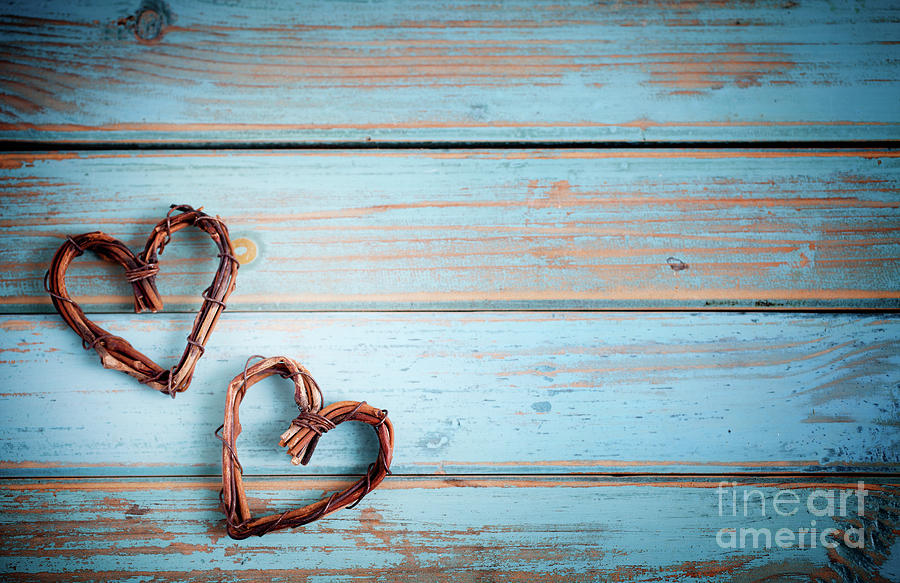 Heart Photograph - Two Hearts On Wooden Background by Kati Finell