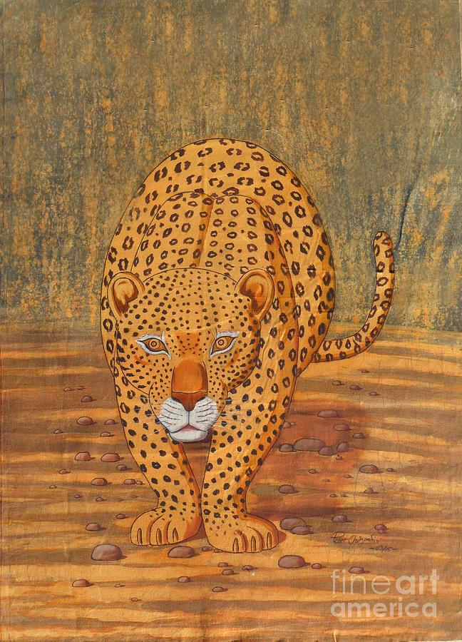 African Painting - Cheetah by Peter Chikondi