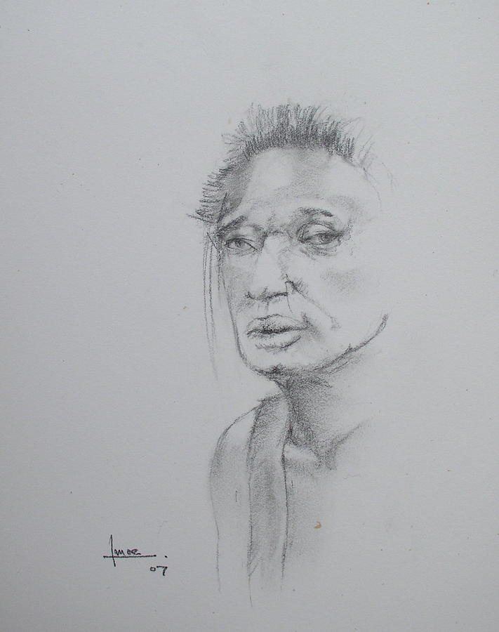 Portrait Drawing - Untitled by Victor Amor