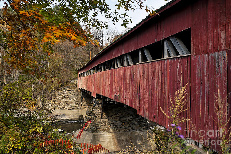 New England Photograph - Vermont Covered Bridge by John Greim