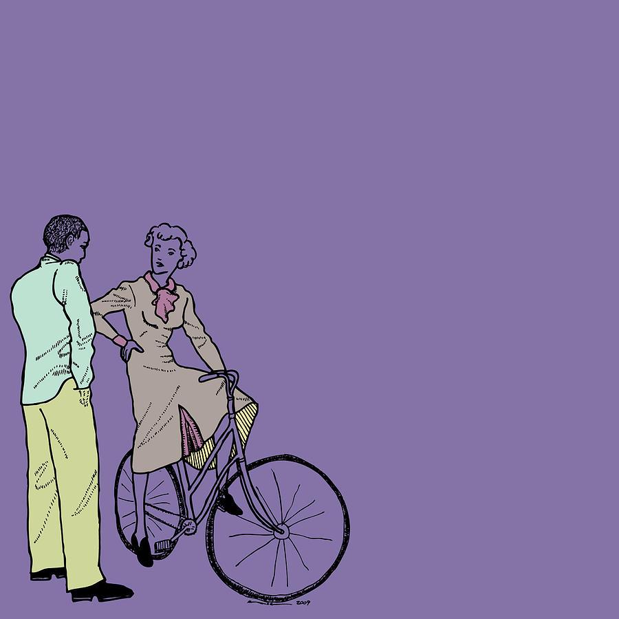 Draw Drawing - Vintage Bike Couple by Karl Addison