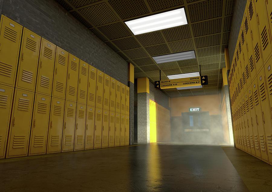 Locker Digital Art - Yellow School Lockers Dirty 5 by Allan Swart