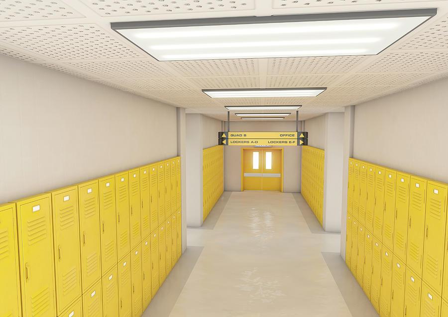 Locker Digital Art - Yellow School Lockers Light 5 by Allan Swart
