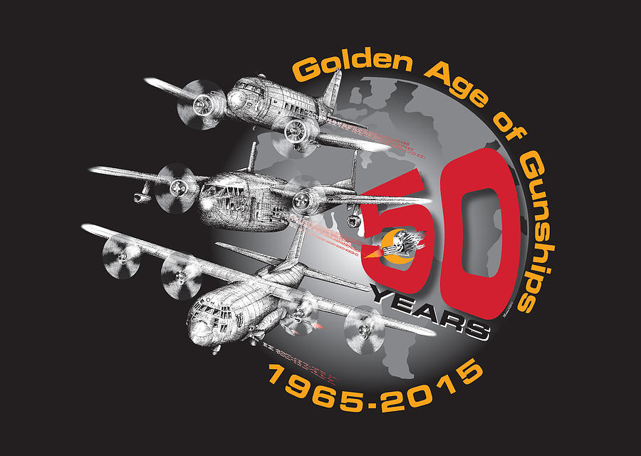 Ac-130 Digital Art - 50 Years Of Gunships 50 by Dennis Bivens