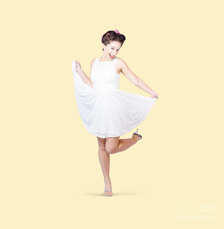 50s Pinup Woman In White Dress Dancing Photograph by Jorgo ...