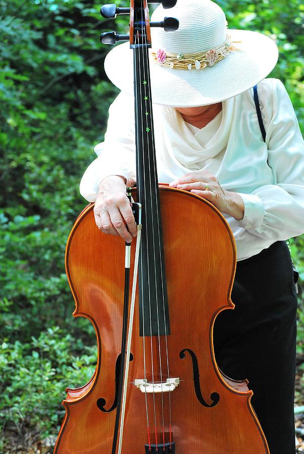 Mature Photograph - Female Cellist. by Oscar Williams