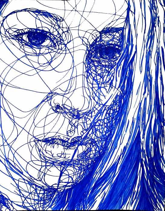 Self-portrait Drawing - Untitled by Kaley LaRose