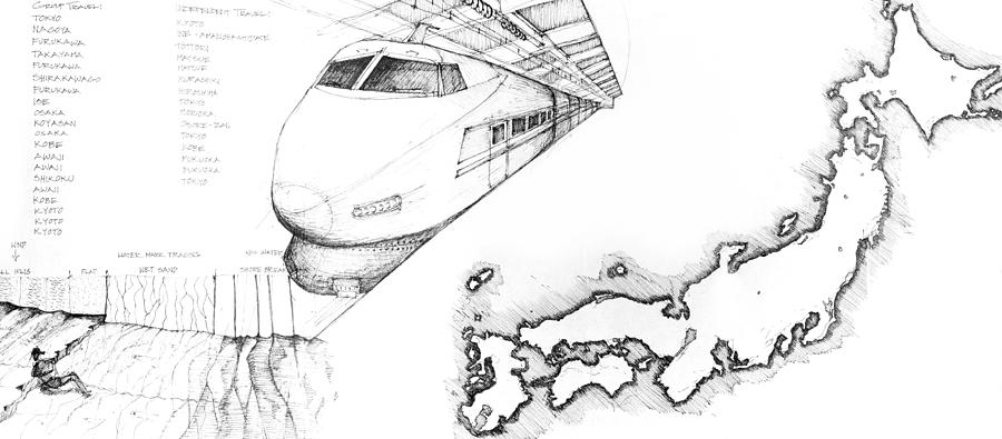Sustainability Drawing - 5.1.japan-map-of-country-with-bullet-train by Charlie Szoradi