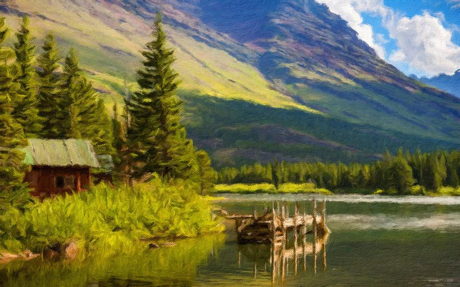 Landscape Painting Acrylic Digital Art By Usa Map - Landscape map of usa