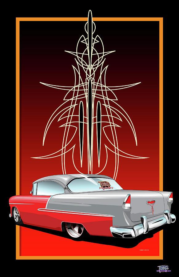55 Chevy Pinstriping Digital Art By Tony Perez