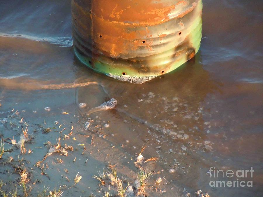 Drum Photograph - 55 Gallon Drum In Surf by David Frederick