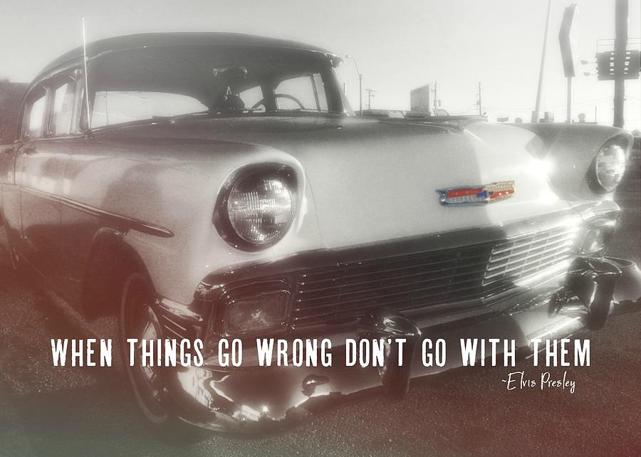 Vintage Photograph - 56 Belair In Memphis Quote by JAMART Photography