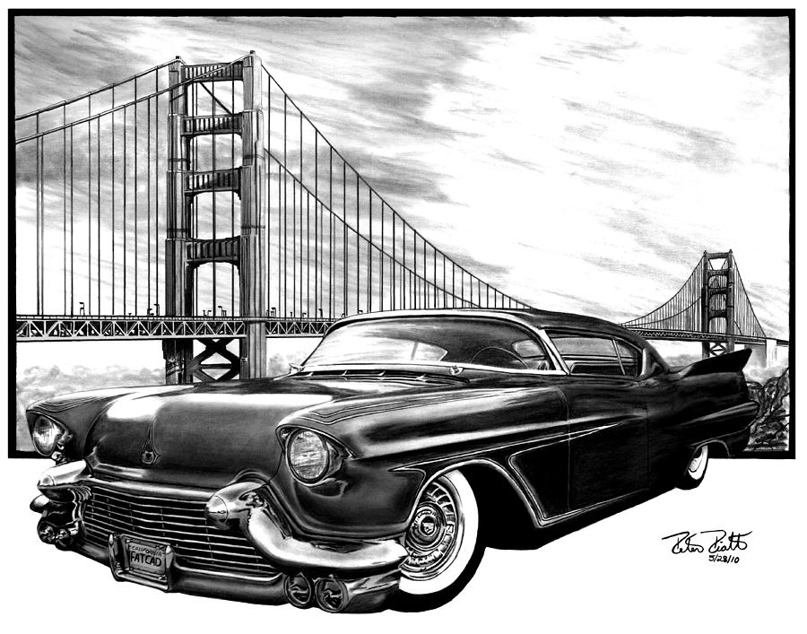 1957 Cadillac Drawing - 57 Fat Cad by Peter Piatt
