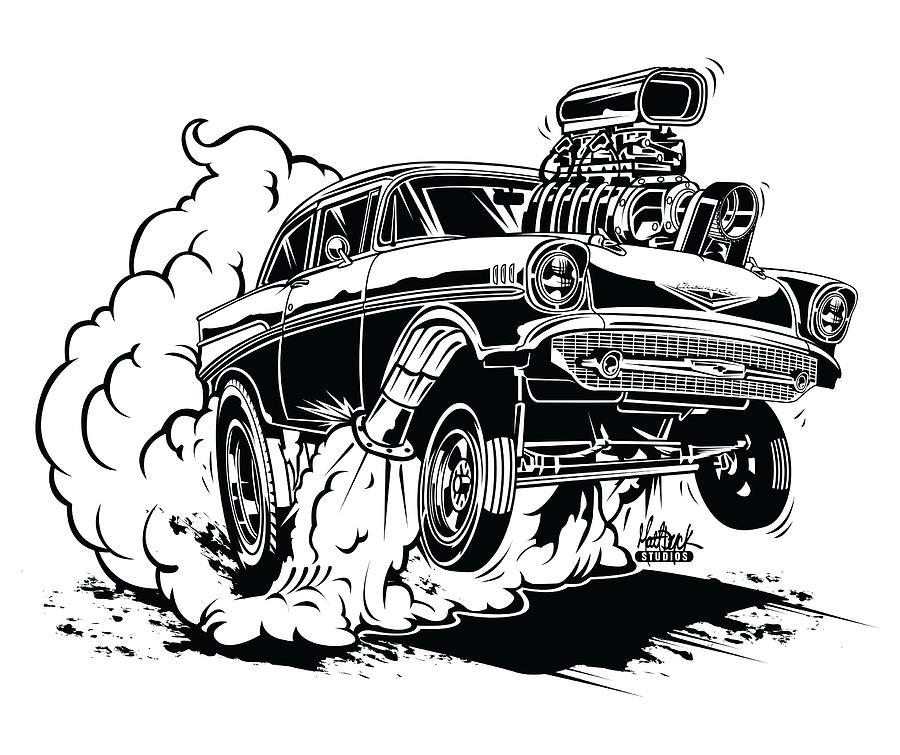 Hot Rod Digital Art - 57 Gasser Cartoon by Matt Dyck