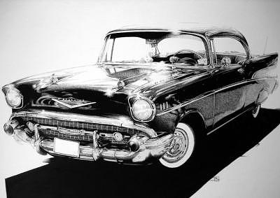 Classic Cars Drawing - 57 Ride by Bobby Kro