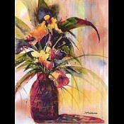 Vase Of Flowers Print - Pats Flowers by Diana Madaras