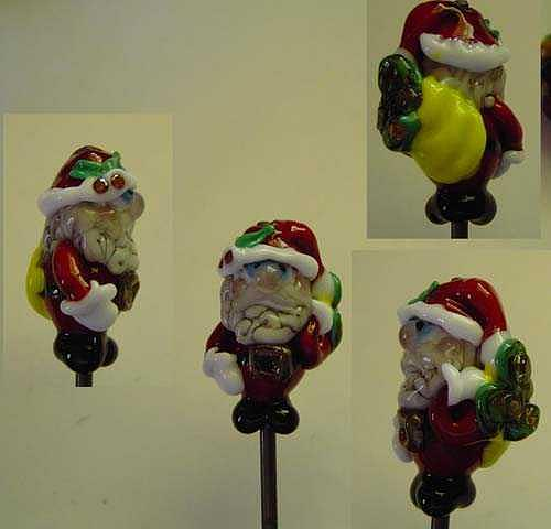 Rich Santa Clause Inspired By A Fellow Lampworking Artist Sculpture by Cecilia Alvarez