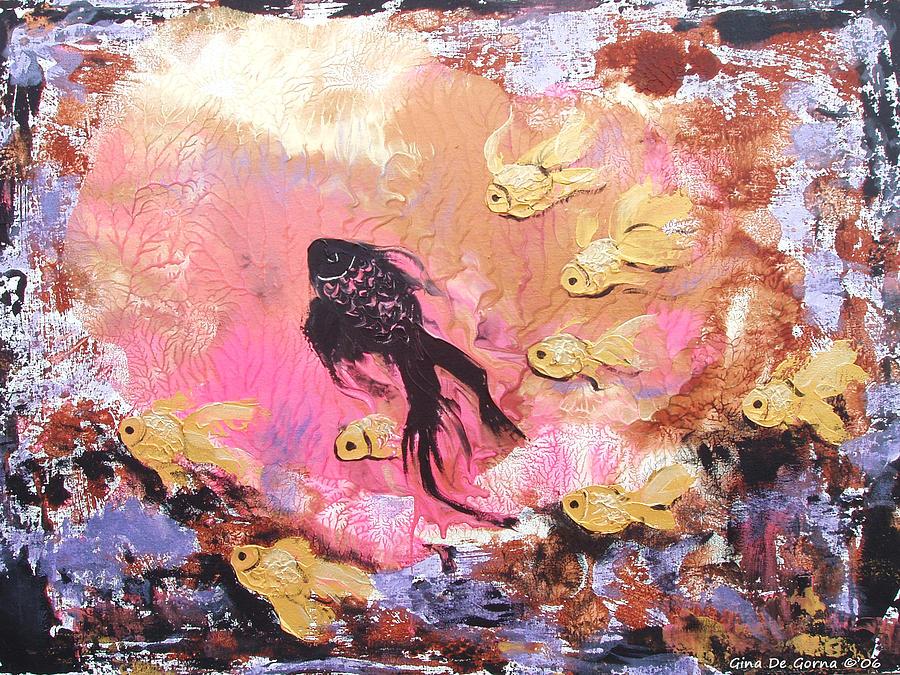 Fish Painting - 8 Gold Fish by Gina De Gorna