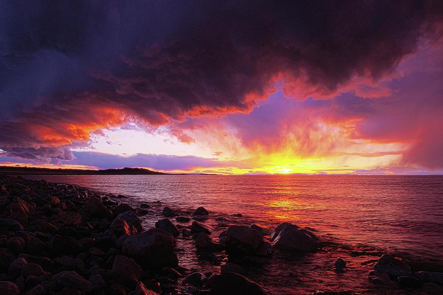 Utah Photograph - Antelope Island Sunset by Norman Hall