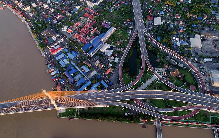 Bhumibol bridge aerial view at sunrise by Pradeep Raja PRINTS
