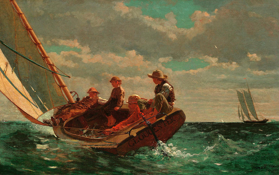 Winslow Homer Painting - Breezing Up, A Fair Wind by Winslow Homer