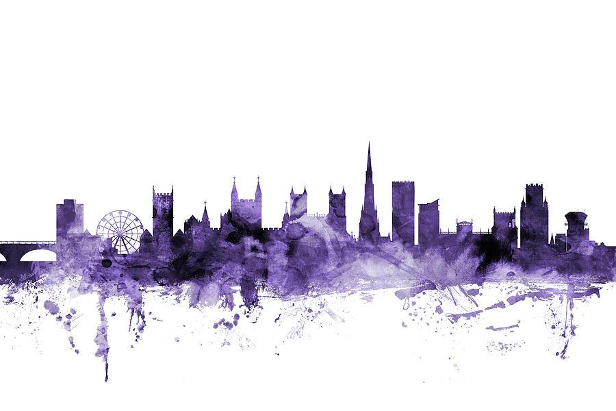 City Digital Art - Bristol England Skyline by Michael Tompsett