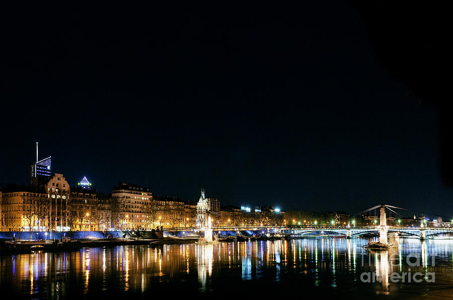 Central Old Town Lyon City Riverside At Night In France