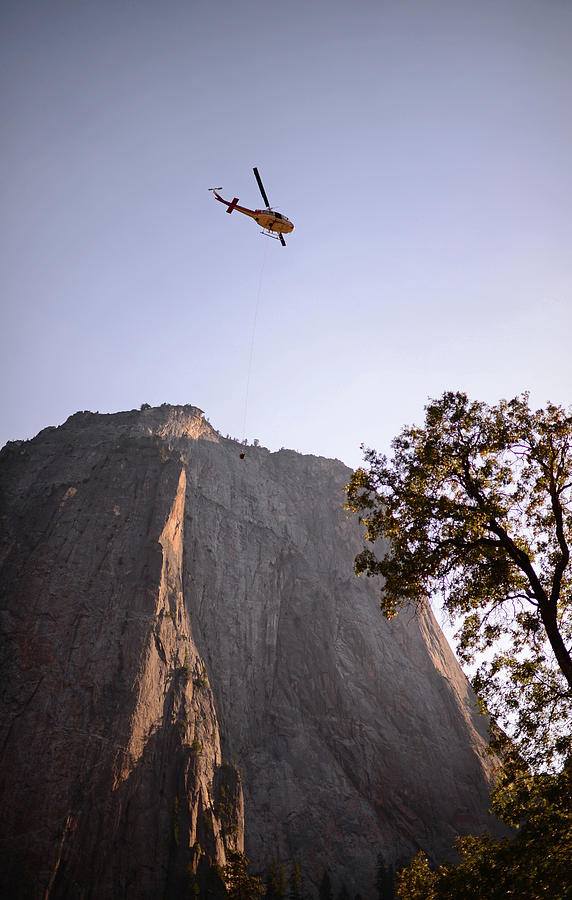 Yosemite Photograph - Climber Rescue Operation In Yosemite by Nano Calvo