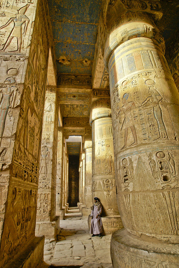 Egypt Photograph - Colonnade In An Egyptian Temple by Michele Burgess