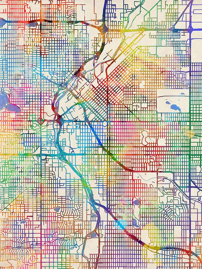 Denver Colorado Street Map Digital Art by Michael Tompsett
