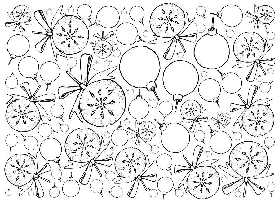 Drawings Of Christmas Ornaments.Hand Drawn Of Lovely Christmas Ornaments Background