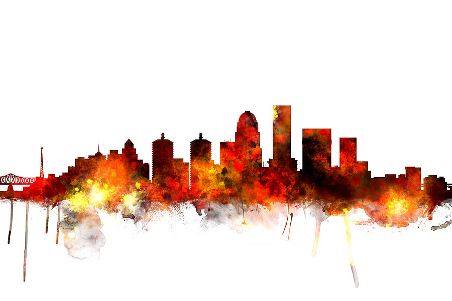 Watercolour Digital Art - Louisville Kentucky City Skyline 6 by Michael Tompsett
