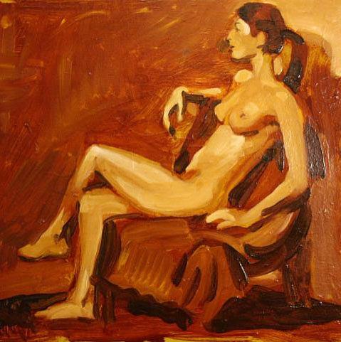 Nude Painting - Model by Alex El