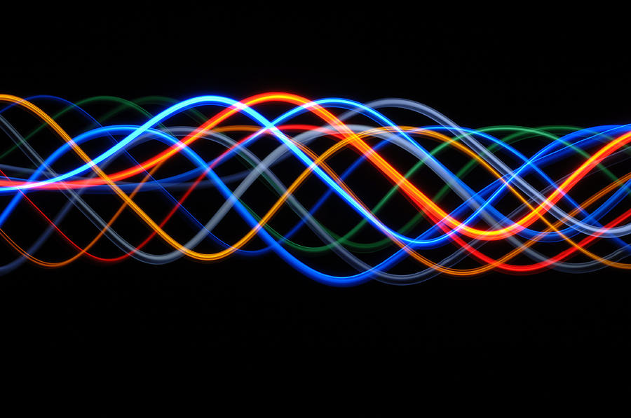 Wave Photograph - Moving Lights, Abstract Image by Lawrence Lawry