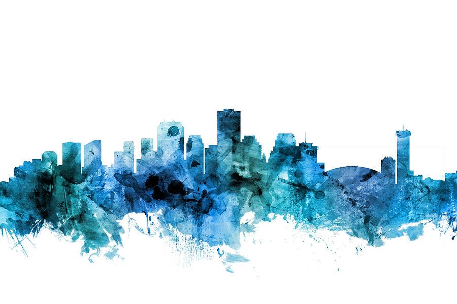 New Orleans Digital Art - New Orleans Louisiana Skyline 6 by Michael Tompsett