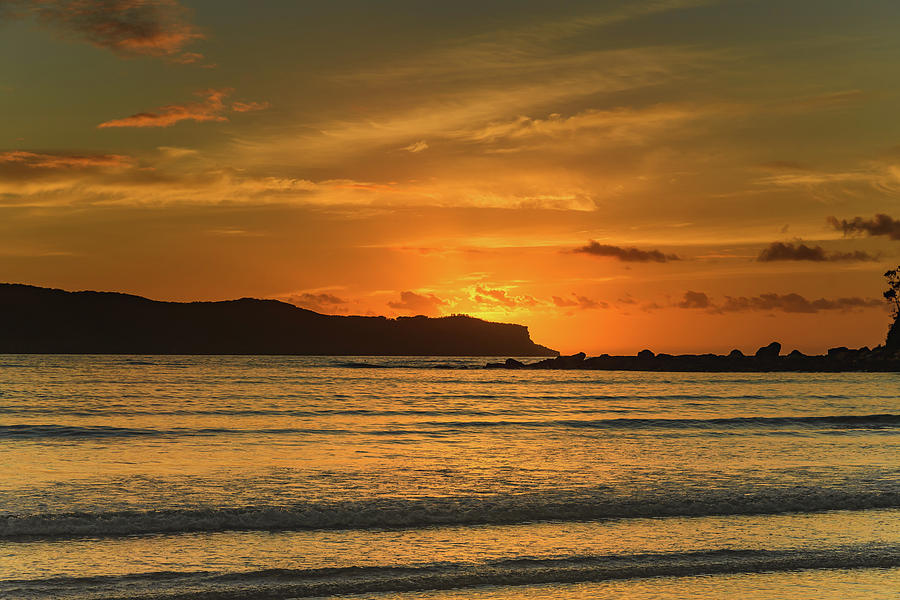 Umina Beach Photograph - Orange Sunrise Seascape by Merrillie Redden