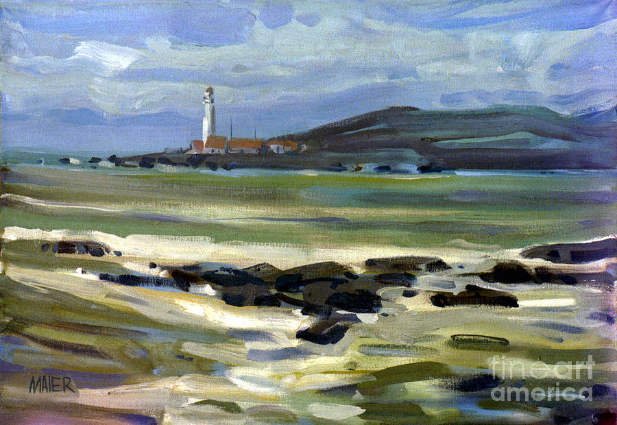 Plein Air Painting - Pigeon Point Light by Donald Maier