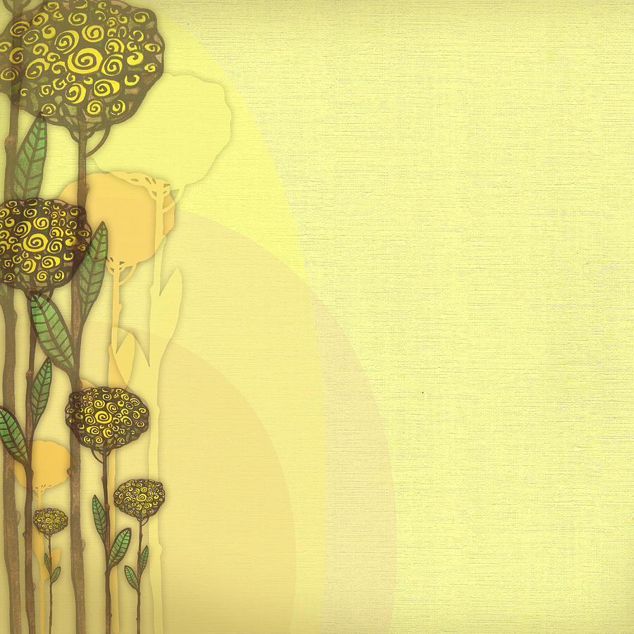 Raster Vintage Floral Background In Yellow Color Digital Art By