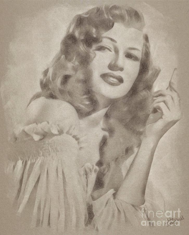 Rita Hayworth Vintage Hollywood Actress Drawing