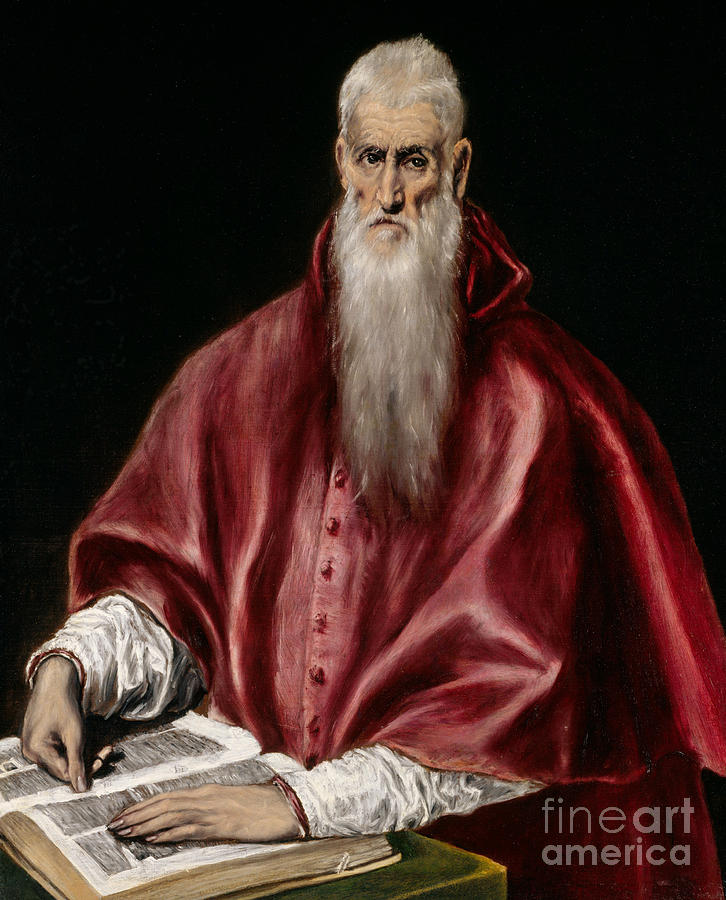 El Greco Painting - Saint Jerome As Scholar by El Greco
