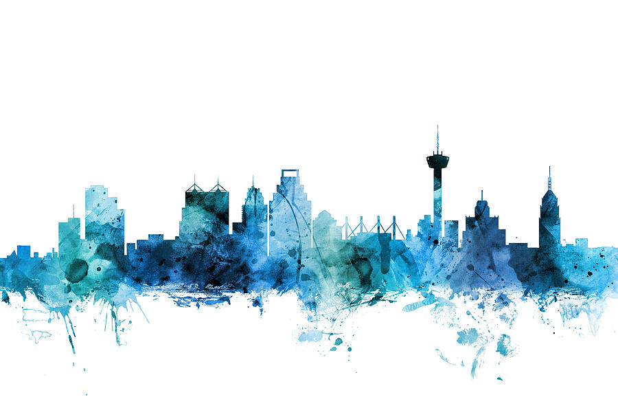 San Antonio Digital Art - San Antonio Texas Skyline by Michael Tompsett