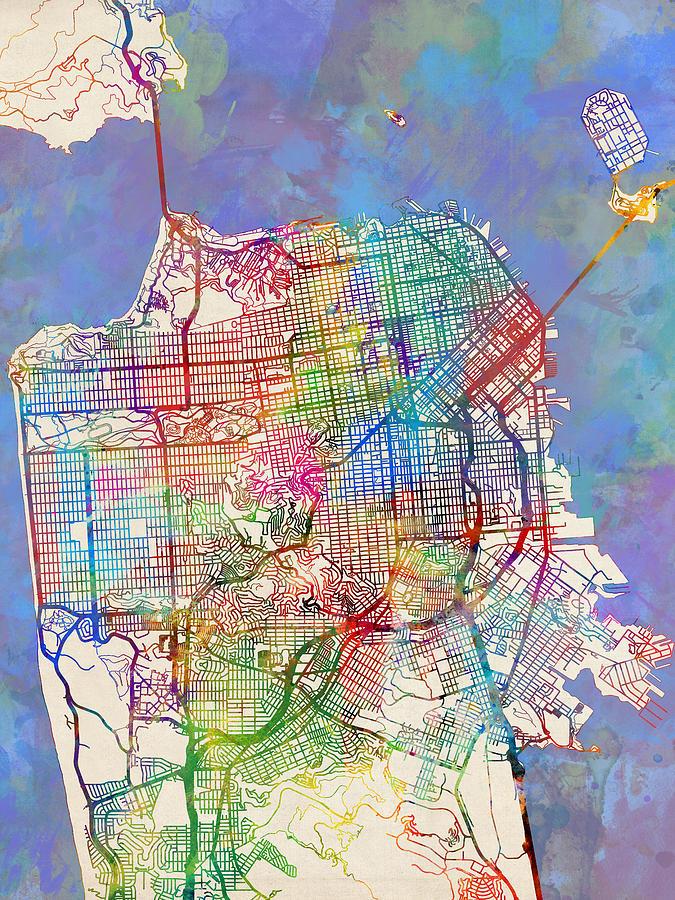 San Francisco City Street Map Digital Art by Michael Tompsett