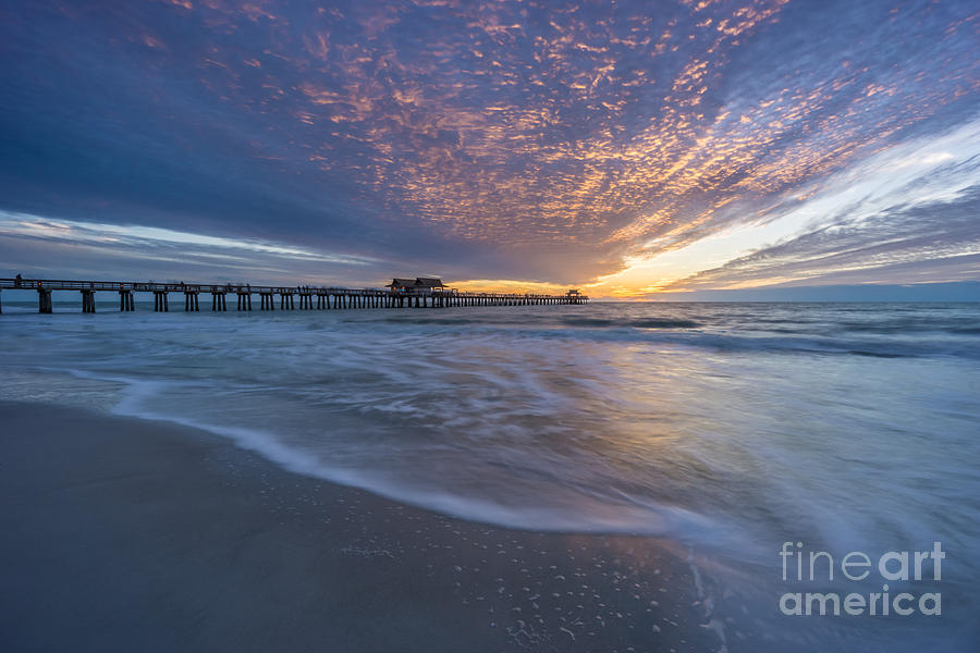 Sunset Naples Pier Florida by Hans- Juergen Leschmann