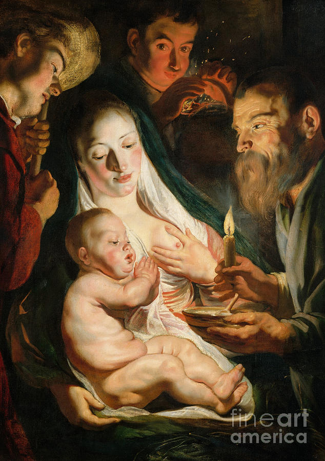 Religious Painting - The Holy Family With Shepherds by Jacob Jordaens