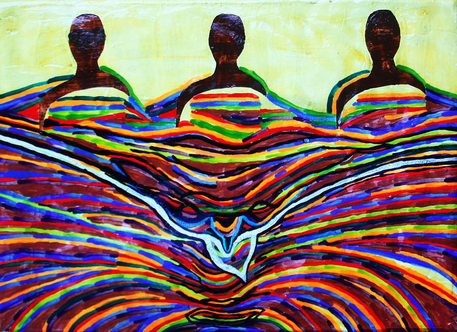 Jesus Painting - The Holy Trinity by Gloria Ssali